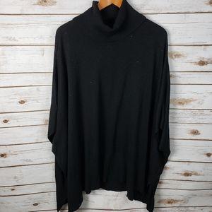 Anne Klein Poncho Turtleneck Cape Sweater Top